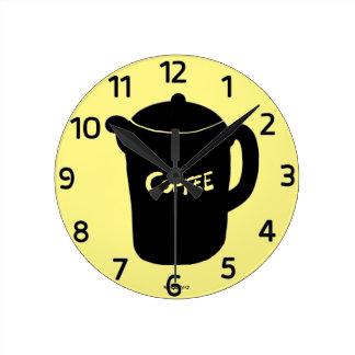 コーヒーポットの漫画の柱時計 ラウンド壁時計