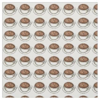 コーヒーラテの陶磁器のコーヒーカップはラテの生地をすくいます ファブリック