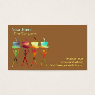 コーヒー人々の虹の名刺のテンプレート 名刺
