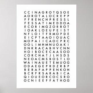 コーヒー単語の調査のパズル ポスター