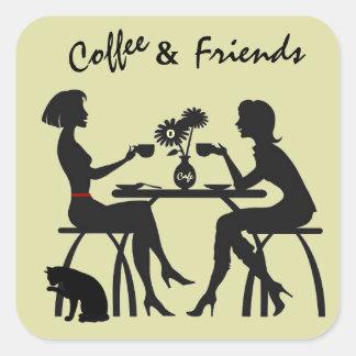 コーヒー及び友人のギフトおよび封筒のステッカー スクエアシール