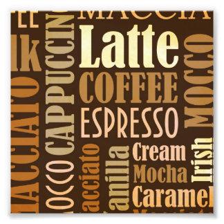 コーヒー専門語の活版印刷 フォトプリント
