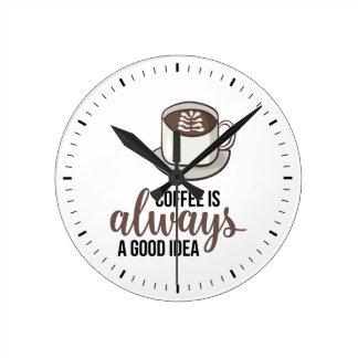 コーヒー常によいアイディア ラウンド壁時計