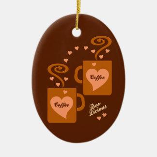 コーヒー恋人のオーナメントは、カスタマイズ セラミックオーナメント