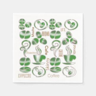 コーヒー恋人の豆の緑の茶色 スタンダードカクテルナプキン