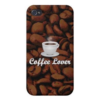 コーヒー恋人、白いコップまたはブラウンの豆 iPhone 4/4Sケース