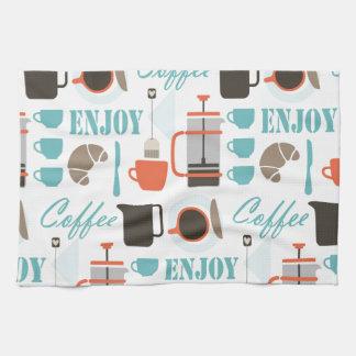 コーヒー愛およびcaféパターン キッチンタオル