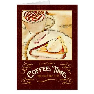 コーヒー時間カラメルのMacchiatoのパンプキンパイのティータイム カード