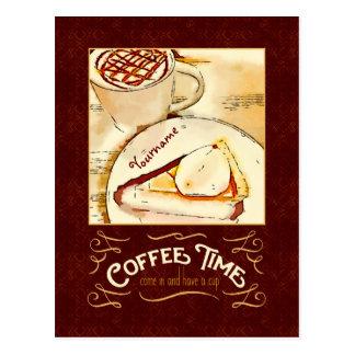 コーヒー時間カラメルのMacchiatoのパンプキンパイのティータイム ポストカード