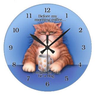 コーヒー猫の時計 ラージ壁時計