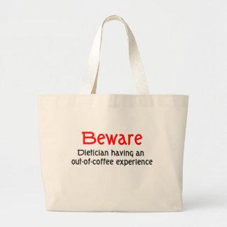 コーヒー経験のバッグから栄養士を用心して下さい ラージトートバッグ