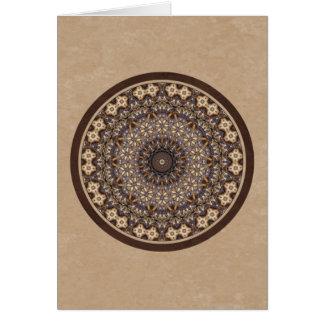 コーヒー色の抽象的な曼荼羅 カード
