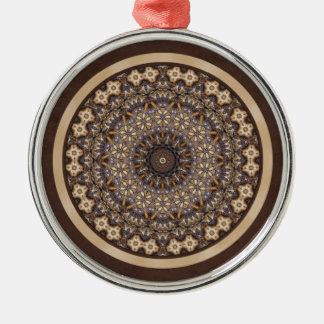 コーヒー色の抽象的な曼荼羅 メタルオーナメント