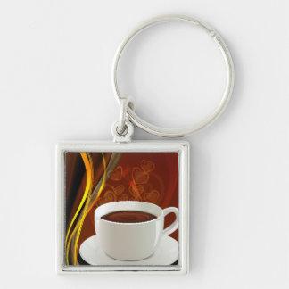 コーヒー芸術のカフェ シルバーカラー正方形キーホルダー