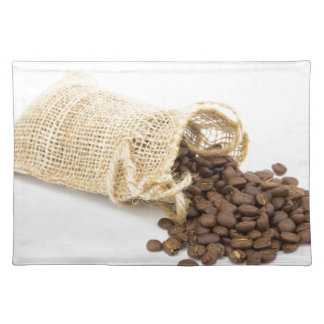 コーヒー豆が付いている少し袋用の布 ランチョンマット