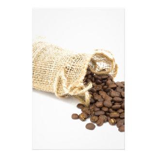 コーヒー豆が付いている少し袋用の布 便箋