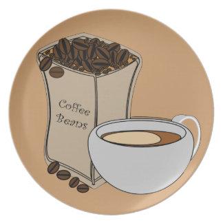 コーヒー豆のコーヒーカップのデザインのプレート プレート
