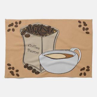 コーヒー豆のコーヒーカップのデザインの台所タオル キッチンタオル