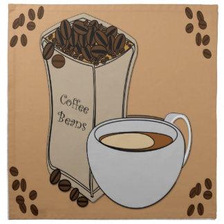 コーヒー豆のコーヒーカップのデザインの布のナプキン ナプキンクロス