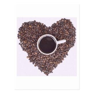 コーヒー豆のハートと囲まれるコーヒーカップ ポストカード