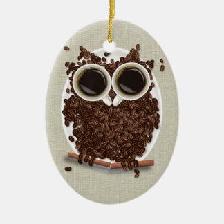 コーヒー豆のフクロウ セラミックオーナメント