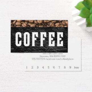 コーヒー豆の上のストライプの凸版印刷のパンチカード 名刺