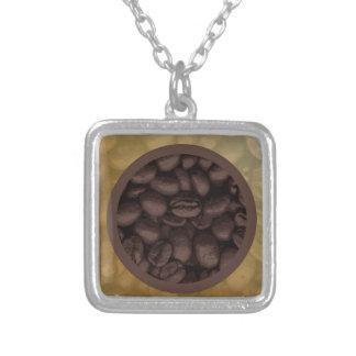 コーヒー豆の円 シルバープレートネックレス