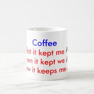 コーヒー豆、警報目がさめている生きた コーヒーマグカップ