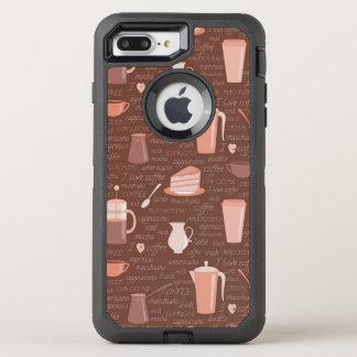 コーヒー関連の要素が付いているパターン オッターボックスディフェンダーiPhone 8 PLUS/7 PLUSケース