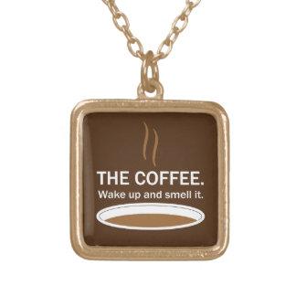コーヒー。 それをかいで下さい ゴールドプレートネックレス