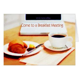 コーヒー、クロワッサン及びコンピュータ朝食の会合 カード