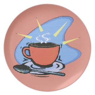 コーヒー-コップ、受皿、スプーンのデザインのプレート プレート