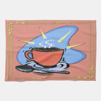 コーヒー-コップ、受皿、スプーンのデザインの台所タオル キッチンタオル