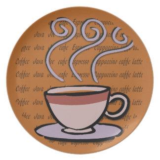コーヒー-パステル調のマグのデザインのプレート プレート
