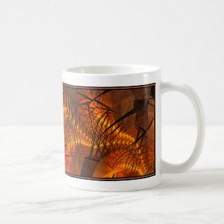 コーヒー・マグのフラクタルデザイン(血しょう流れ、Orng) コーヒーマグカップ