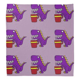 コーヒー・マグを持つおもしろいな紫色のTレックスの恐竜 バンダナ