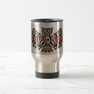 コーヒー・マグ太平洋NWのネイティブアメリカンのフクロウの芸術 トラベルマグ