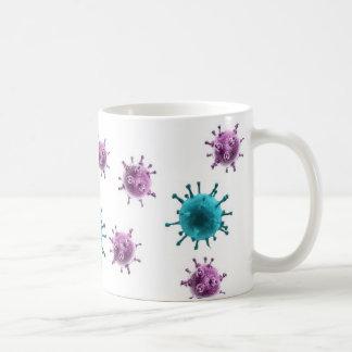 コーヒー・マグ-インフルエンザのウイルス(白の紫色または青) コーヒーマグカップ