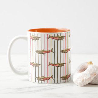 コーヒー・マグ-マスノスケはの縞で飾ります ツートーンマグカップ