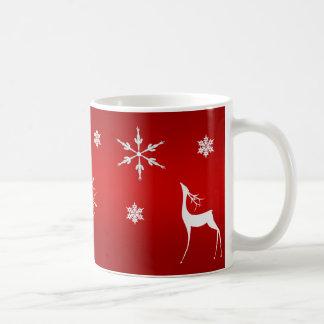 コーヒー・マグ--白いトナカイ及び雪 コーヒーマグカップ