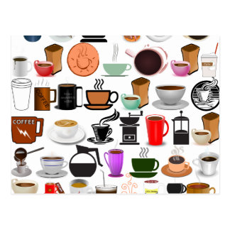 コーヒー・マグ(背景色を加えて下さい) ポストカード