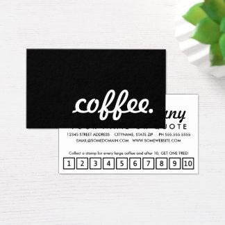 コーヒー。 ロイヤリティのパンチカード 名刺