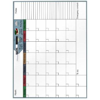 コーヒー、本及び雨6Wカレンダー ホワイトボード