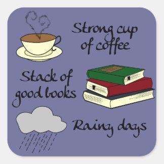 コーヒー、本及び雨-色を変えて下さい スクエアシール