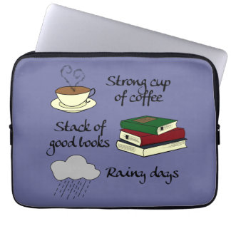 コーヒー、本及び雨-色を選んで下さい ノート型パソコンスリーブ