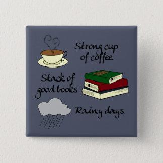 コーヒー、本及び雨 5.1CM 正方形バッジ