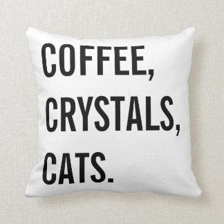 コーヒー、水晶、猫 クッション