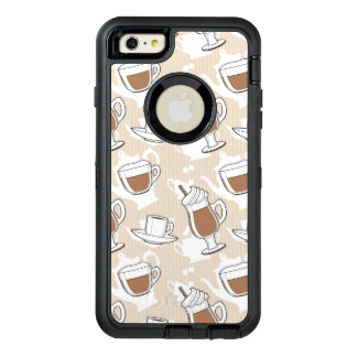 コーヒー、甘いパターン オッターボックスディフェンダーiPhoneケース