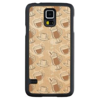 コーヒー、甘いパターン CarvedメープルGalaxy S5スリムケース