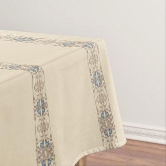 コーヒー、青およびクリームのストライプな花パターン テーブルクロス